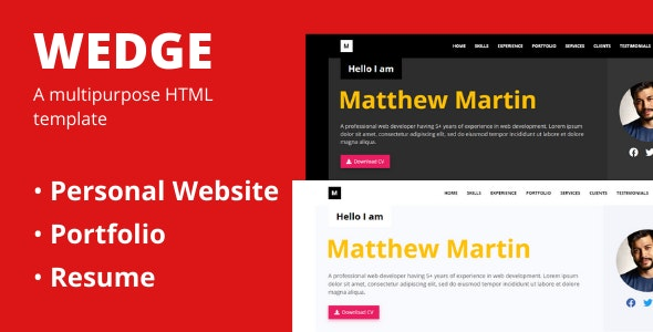 Wedge - Personal Website, Portfolio, Resume HTML Template - Personal Site Templates