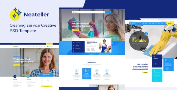 Neateller - Cleaning Services PSD Template - Business Corporate