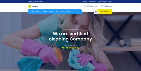 Neateller - Cleaning Services PSD Template