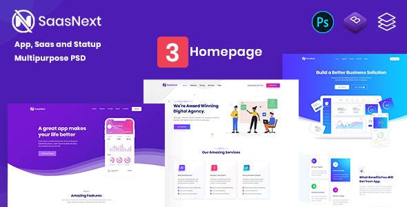 SaasNext - App, Saas and Agency Multipurpose PSD Template - Technology PSD Templates
