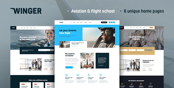 Winger - Aviation & Flight School WordPress Theme - Business Corporate