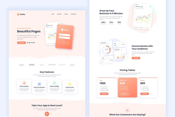 SaaSy - SaaS & App Landing Page Template Kit - Technology & Apps Elementor