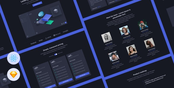 Cube - React Landing Page Template for Startups - Technology Site Templates