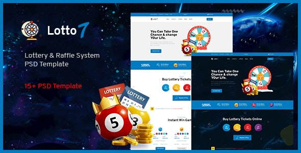 Lotto7 - Lottery & Raffle System PSD Template. - Miscellaneous PSD Templates