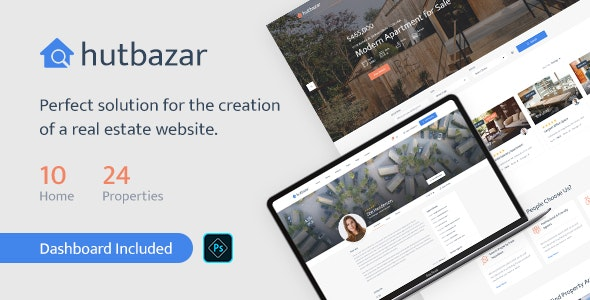 Hutbazar - Real Estate PSD Template - Business Corporate