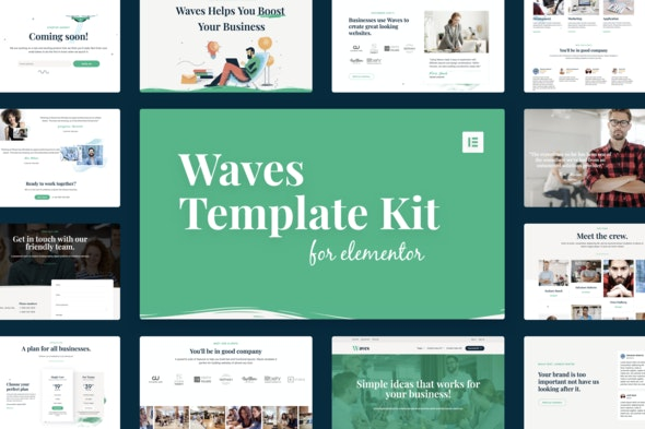 Waves - Startup Agency Elementor Template Kit - Business & Services Elementor