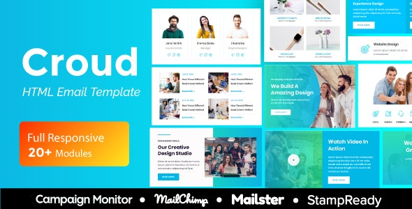 Croud - Multipurpose Responsive Email Template 20+ Modules - Mailster & Mailchimp - Newsletters Email Templates