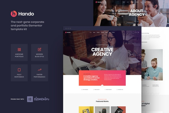 Hando - Corporate & Portfolio Elementor Template Kit - Business & Services Elementor