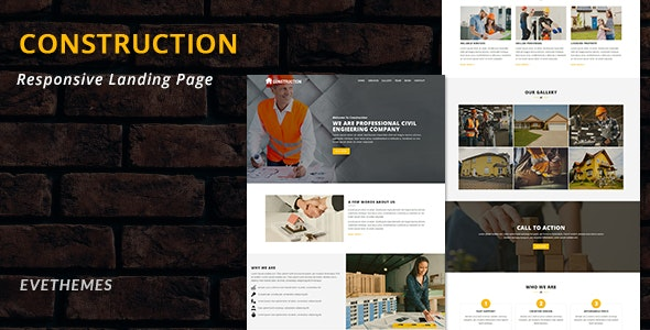 Construction - Multipurpose Responsive HTML Landing Page - Landing Pages Marketing