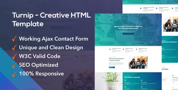 Turnip - Agency One Page Template - Corporate Site Templates