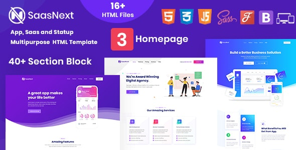 SaasNext - App, Saas and Startup Multipurpose HTML Template - Technology Site Templates