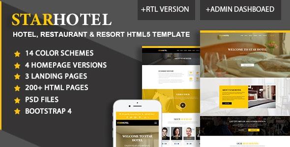 STAR HOTEL - Hotel, Resort & Restaurant Booking HTML5 + Admin Template - Travel Retail