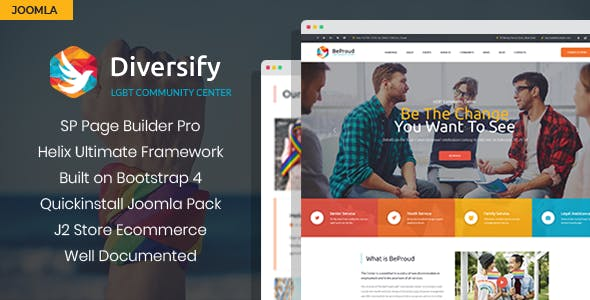 Diversify - LGBT Community Joomla Template With Page Builder