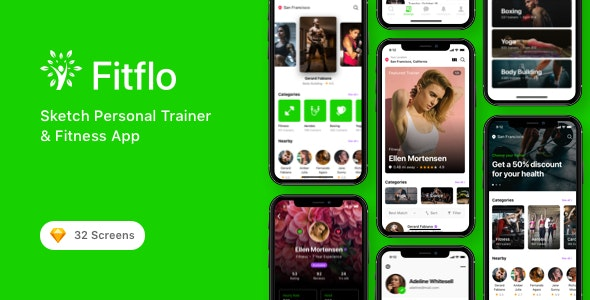 Fitflo - Sketch Personal Trainer & Fitness App - Sketch Templates