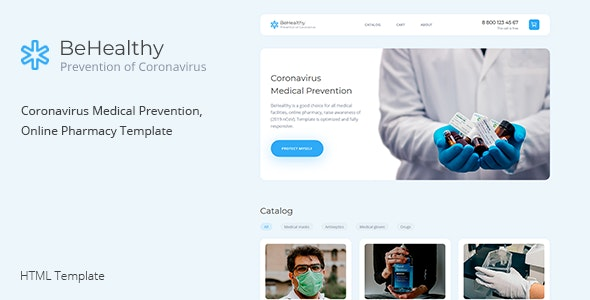 BeHealthy – Coronavirus Medical Prevention, Online Pharmacy Template - Health & Beauty Retail