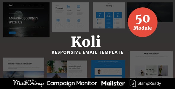 Koli - 50 Modules Responsive Email Template - Newsletters Email Templates