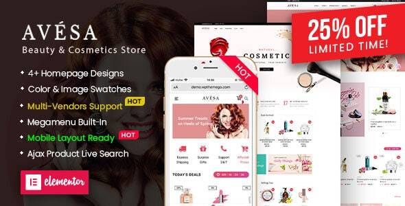 Avesa - Beauty & Cosmetics Store WooCommerce WordPress Theme (Mobile Layout Ready) - WooCommerce eCommerce