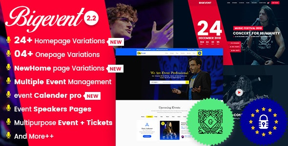 BigEvent- Conference Event WordPress Theme - Events Entertainment
