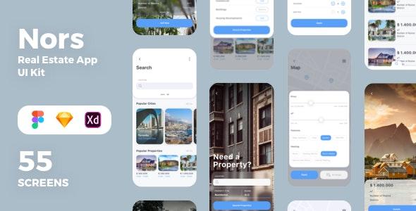 Nors Real Estate App UI Kit - Sketch Templates