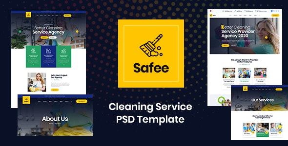 Safee - Cleaning Service PSD Template - Business Corporate