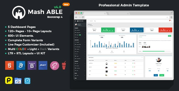 Mash Able Bootstrap 4 Admin Template & UI kit - Admin Templates Site Templates
