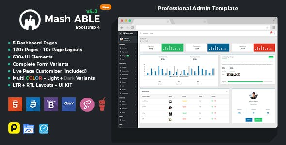 Mash Able Bootstrap 4 Admin Template & UI kit