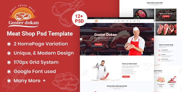 Goster Dokan - Meat Shop PSD Template - Food Retail