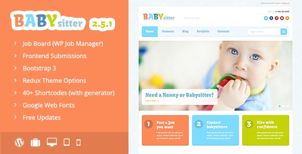 Babysitter - Job Board WordPress Theme - Directory & Listings Corporate