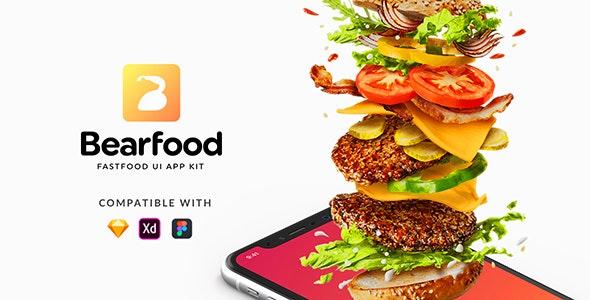 Bearfood - Fast-food app kit - Sketch Templates