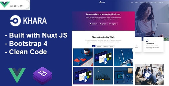 Khara - Vue Nuxt Corporate and Business Template - Corporate Site Templates