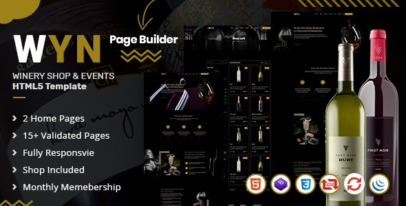 WYN | Winery & Pub Responsive HTML5 Bootstrap 4 Template - Restaurants & Cafes Entertainment