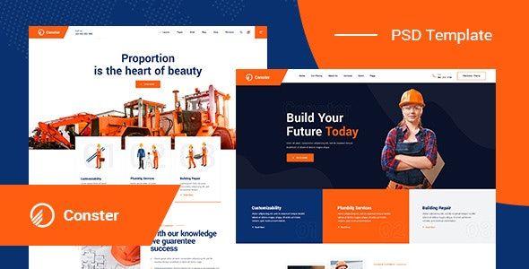 Conster - Construction PSD Template - Business Corporate