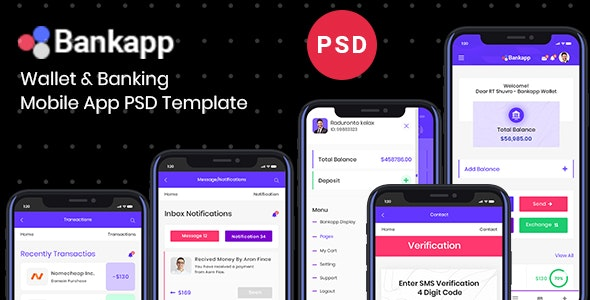 Bankapp | Banking & Wallet Mobile App UI Design PSD Template - Software Technology
