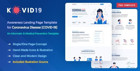 KOVID19 – Coronavirus (COVID-19) Prevention & Informatics PSD Template - Nonprofit PSD Templates