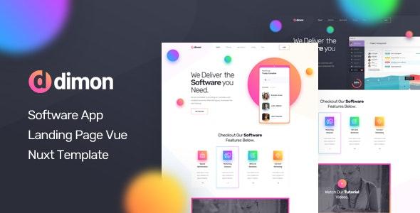Dimon - Vue Nuxt Software App Landing Page Template - Technology Site Templates