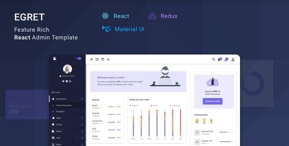 Egret - React Redux Material Design Admin Dashboard Template - Admin Templates Site Templates