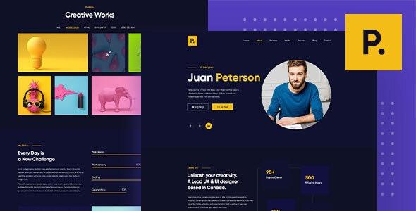 Peterson – One Page Portfolio PSD Template. - Portfolio Creative