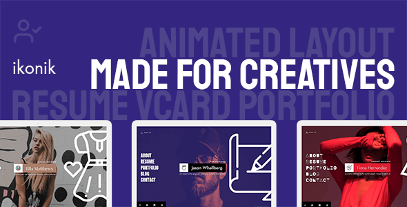 ikonik - Resume/CV Animated Template - Resume / CV Specialty Pages