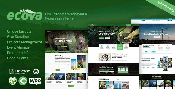 Ecova - Eco Environmental WordPress Theme - Environmental Nonprofit