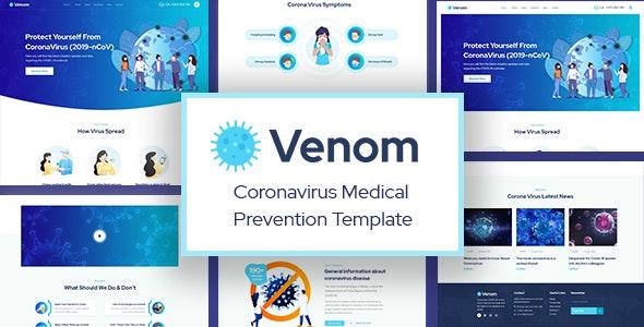Venom - Coronavirus Medical Prevention PSD Template - Health & Beauty Retail