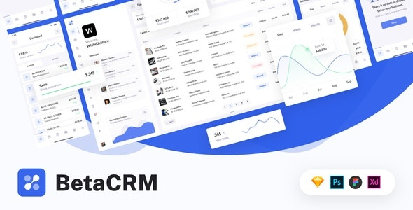 BetaCRM - UI Kit for SaaS Admin Dashboards - Sketch UI Templates