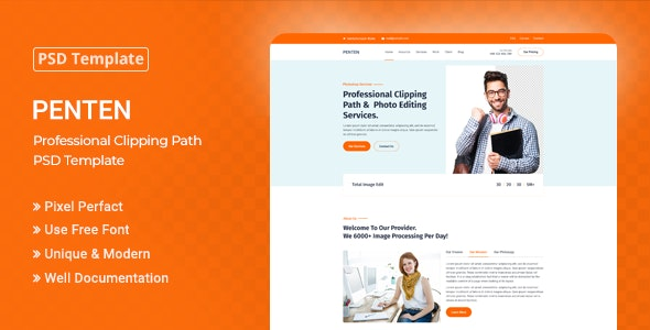 Penten - Professional Clipping Path PSD Template - Corporate PSD Templates