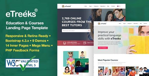 eTreeks - Online Courses & Education Landing Page Template