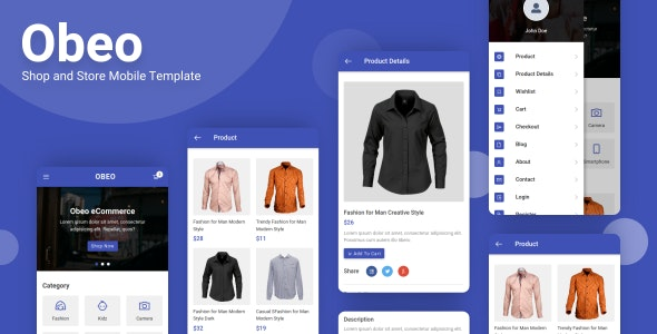 Obeo - Shop and Store Mobile Template - Mobile Site Templates