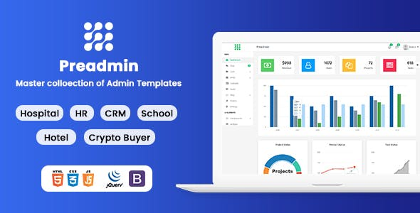 Preadmin - Multipurpose Bootstrap Admin HTML Template HR | CRM | Hospital | School | Crypto | Hotel