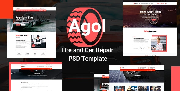 AGOL - Tire and Car Repair PSD Template - Business Corporate