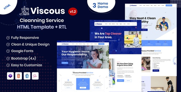Viscous - Cleaning Service HTML Template - Business Corporate