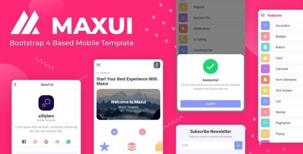 Maxui - Bootstrap 4 Based Mobile Template - Mobile Site Templates