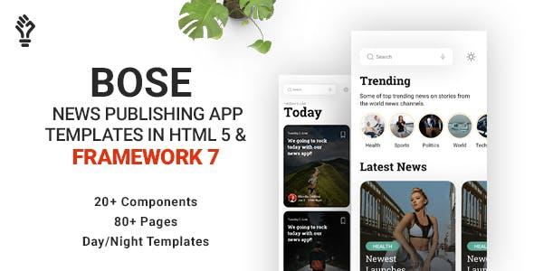 Download Bose - News Publishing App Template in HTML 5 & Framework 7