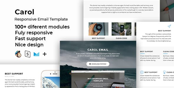 Carol – 100+  Responsive Modules + StampReady, MailChimp & CampaignMonitor compatible files
